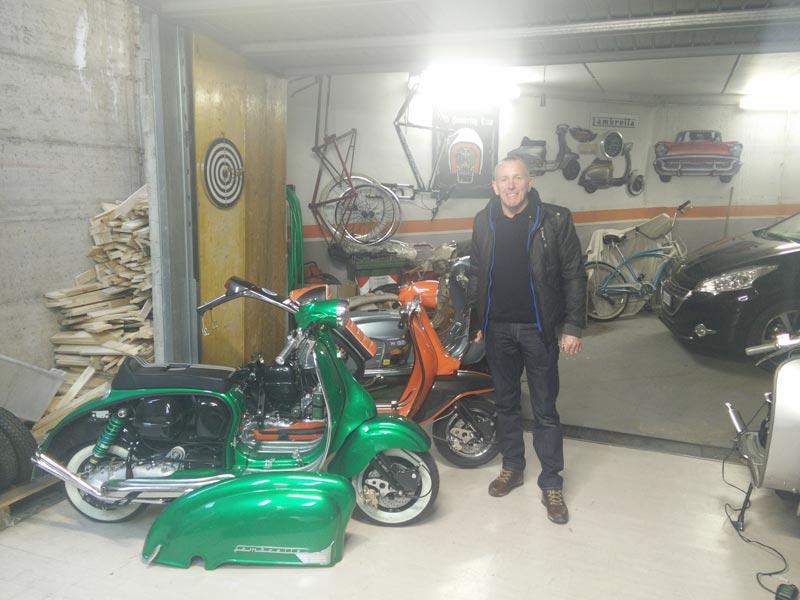 Gary l'inglese nel garage di Custom Lambretta